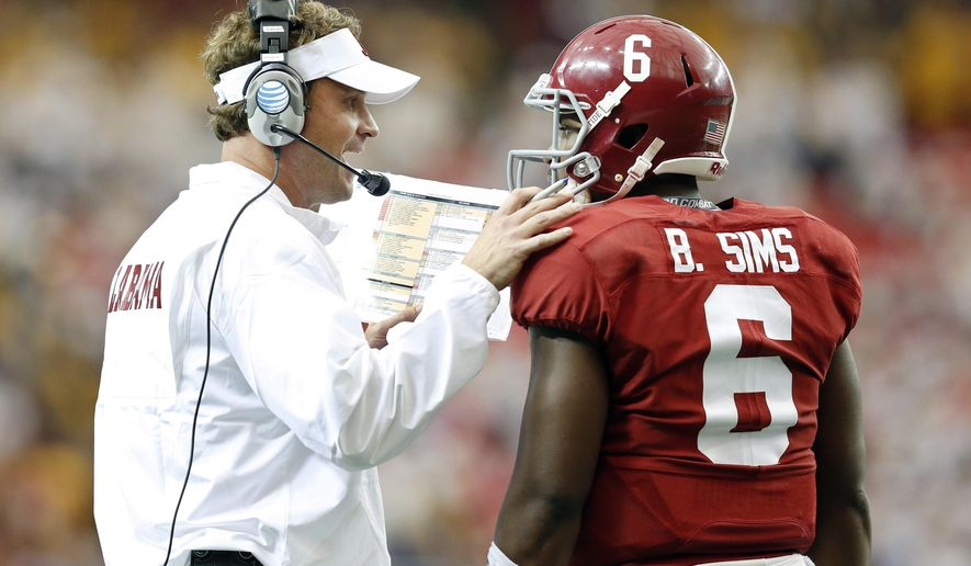 Alabama quarterback Blake Sims (6) talks with offensive coordinator Lane Kiffin, left, during the fourth quarter of an NCAA college football game against West Virginia on Saturday, Aug. 30, 2014, in Atlanta, Ga. (AP Photo/Brynn Anderson)
