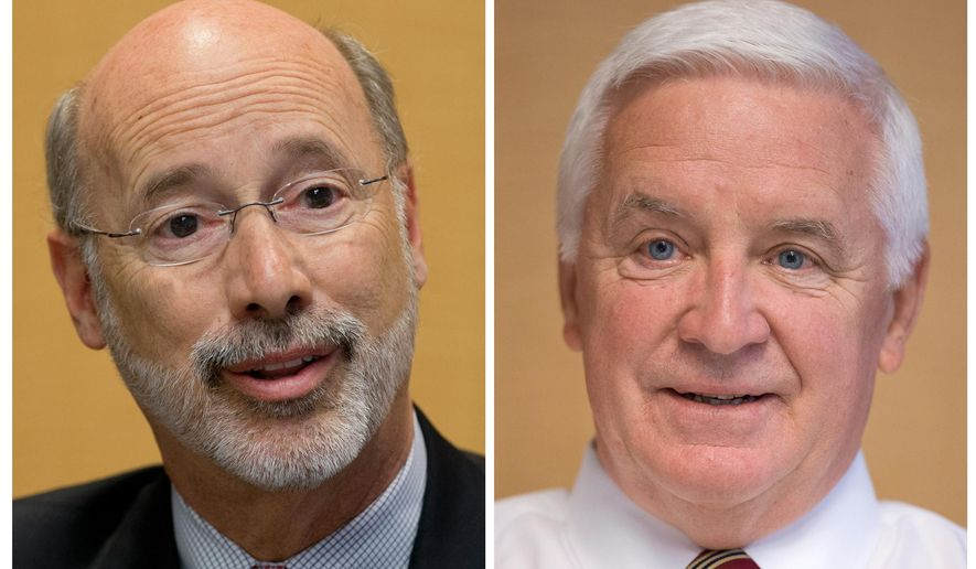 FILE - In this combination of 2014 file photos, Pennsylvania gubernatorial candidates Democrat Tom Wolf, left, and Republican Gov. Tom Corbett are shown in Philadelphia. The general-election campaign for Pennsylvania governor is marked by negative TV ads, incumbent Corbett is playing catch-up against Wolf, a wealthy businessman who wants to hold Corbett to one term. (AP Photo/Matt Rourke, File)