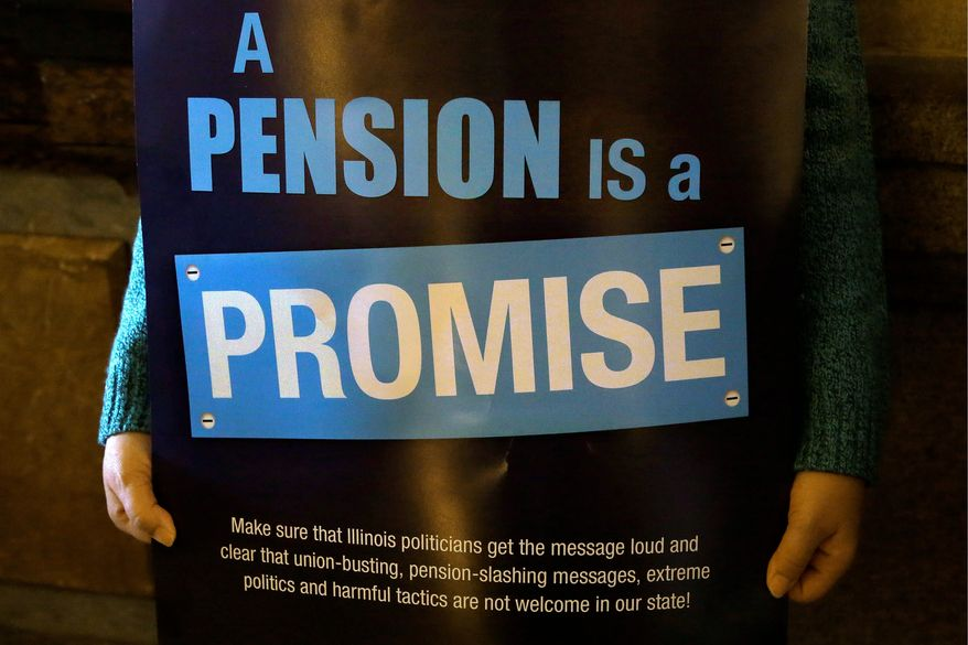 """In this Jan. 3, 2013 photo, a """"Pension Promise"""" sign is seen as Illinois state union members and supporters rally in support for fair pension reform in the at the Illinois State Capitol in Springfield Ill. Illinois Gov. Pat Quinn announced what could be a significant advance on pension reform, saying the powerful House speaker was willing to forgo the dicey issue of teachers retirement costs in order to fix the worst-in-the-nation pension deficit. (AP Photo/Seth Perlman)"""