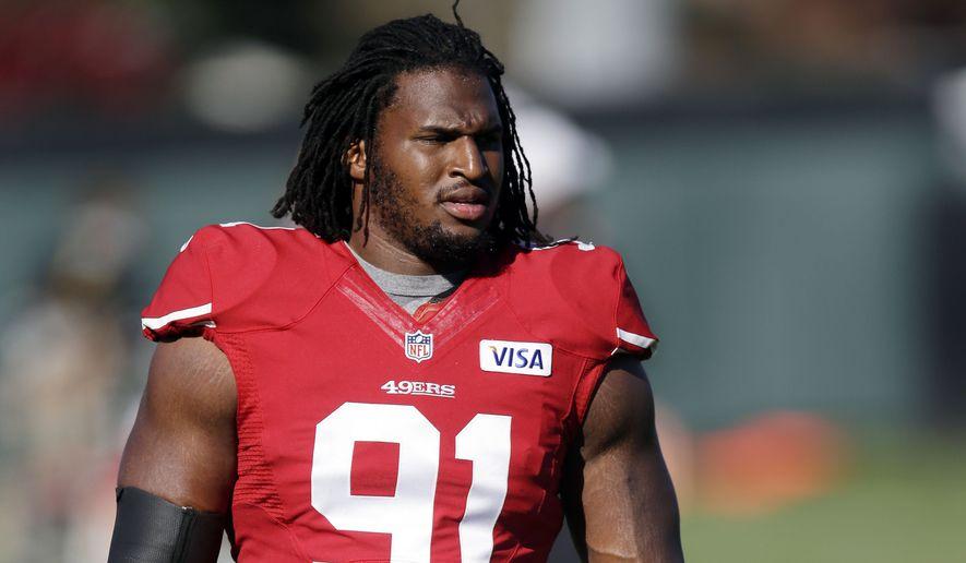 San Francisco 49ers defensive tackle Ray McDonald during NFL football training camp on Friday, Aug. 2, 2013, in Santa Clara, Calif. (AP Photo/Marcio Jose Sanchez)