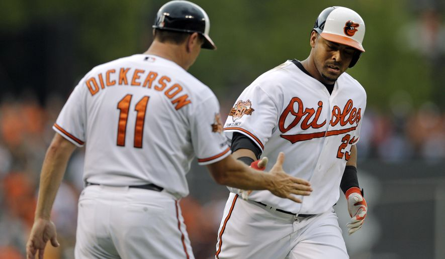 Baltimore Orioles' Nelson Cruz, right, is congratulated by third base coach Bobby Dickerson as he rounds the bases after hitting a solo home run in the ninth inning of a baseball game against the Minnesota Twins, Monday, Sept. 1, 2014, in Baltimore. (AP Photo/Patrick Semansky)