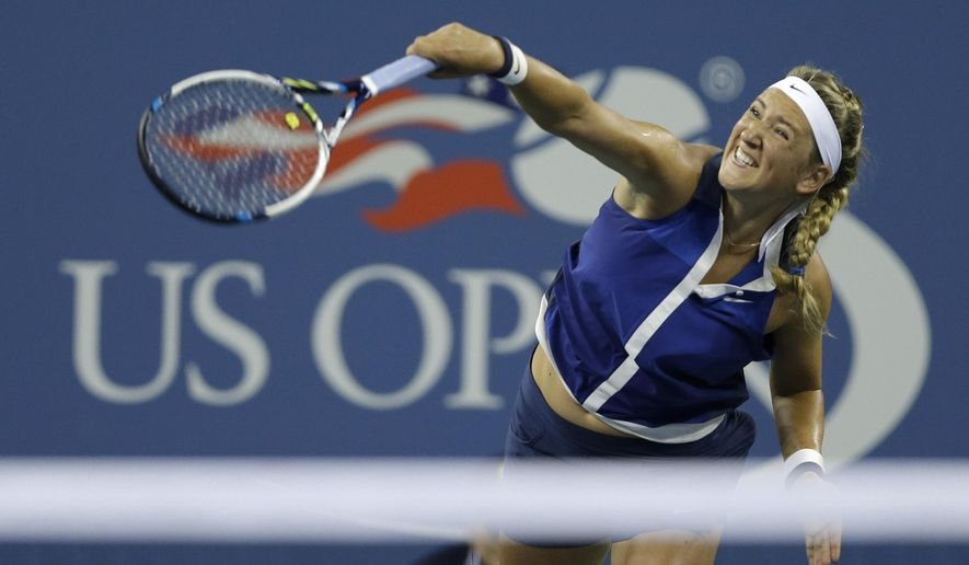 Victoria Azarenka,  of Belarus, serves to Aleksandra Krunic, of Serbia, during the fourth round of the 2014 U.S. Open tennis tournament Monday, Sept. 1, 2014, in New York. (AP Photo/Darron Cummings)