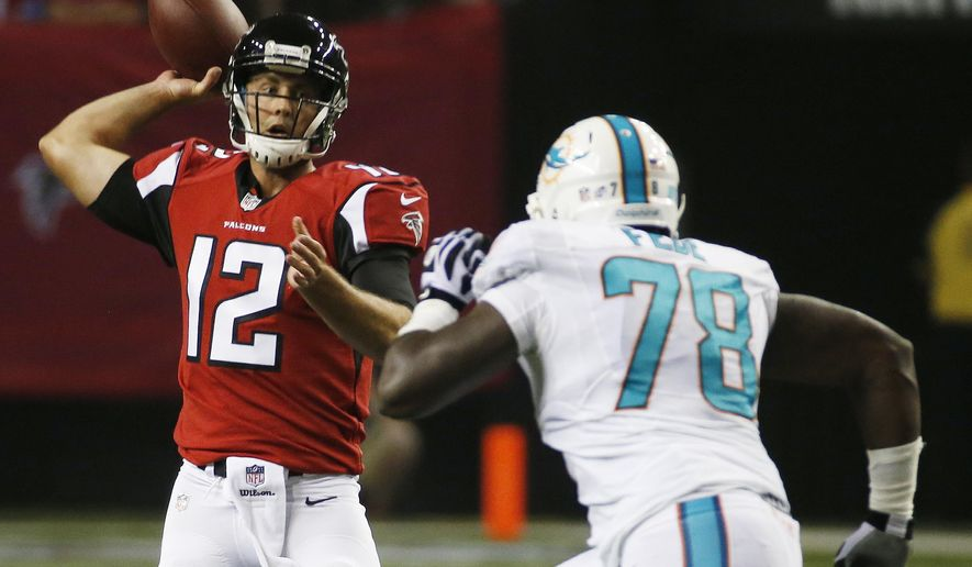 FILE - In this Aug. 8, 2014, file photo, Miami Dolphins defensive end Terrence Fede (78) pursues Atlanta Falcons quarterback Sean Renfree (12)  during the second half of an NFL preseason football game in Atlanta. A year ago, Fede was playing for Marist College. Today, he's with the Dolphins. Small-school guys are getting big-time chances with the Dolphins this season, and Fede might have been the longest of long shots to make this team.  (AP Photo/John Bazemore, File)