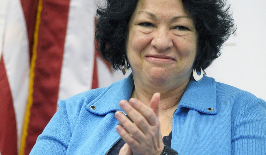 """FILE - This April 2, 2012 file photo shows Supreme Court Associate Justice Sonia Sotomayor in Washington. Supreme Court Justice Sonia Sotomayor will be honored by Bryn Mawr College for her trailblazing legal career, Tuesday, Sept. 2, 2014. The women's liberal arts school near Philadelphia announced Tuesday that Sotomayor will receive the 2015 Katharine Hepburn Medal, given to women who embody """"the intelligence, drive and independence"""" of the Oscar-winning actress. (AP Photo/Cliff Owen, File)"""