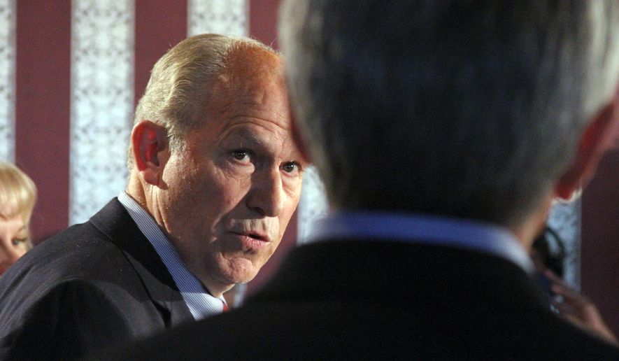 Alaska gubernatorial candidate Bill Walker, left, speaks at a news conference Tuesday, Sept. 2, 2014, in Anchorage, Alaska. Walker will join with the former Democratic gubernatorial candidate, Byron Mallott, right, on a unified, nonpartisan ticket to face Republican Gov. Sean Parnell in the general election. Mallott will run as Walker's lieutenant governor candidate. (AP Photo/Mark Thiessen)