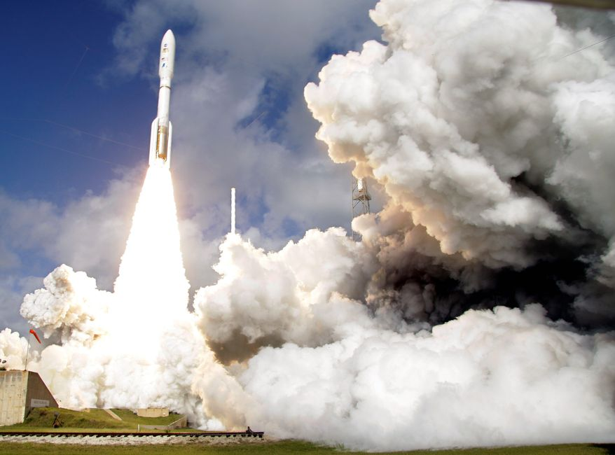 Rockets propelled by RD-180 engines transport U.S. national security satellites to space. (Associated Press) ** FILE **