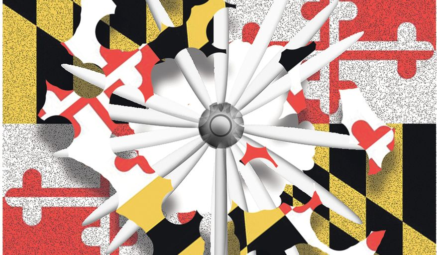 Illustration on a proposed wind farm's impact on Maryland by Alexander Hunter/The Washington Times