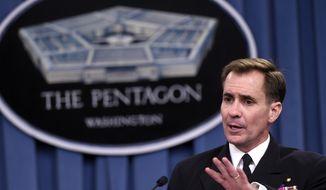 Pentagon press secretary Navy Rear Adm. John Kirby speaks during a briefing at the Pentagon, Tuesday, Sept. 2, 2014. (AP Photo/Susan Walsh) ** FILE **