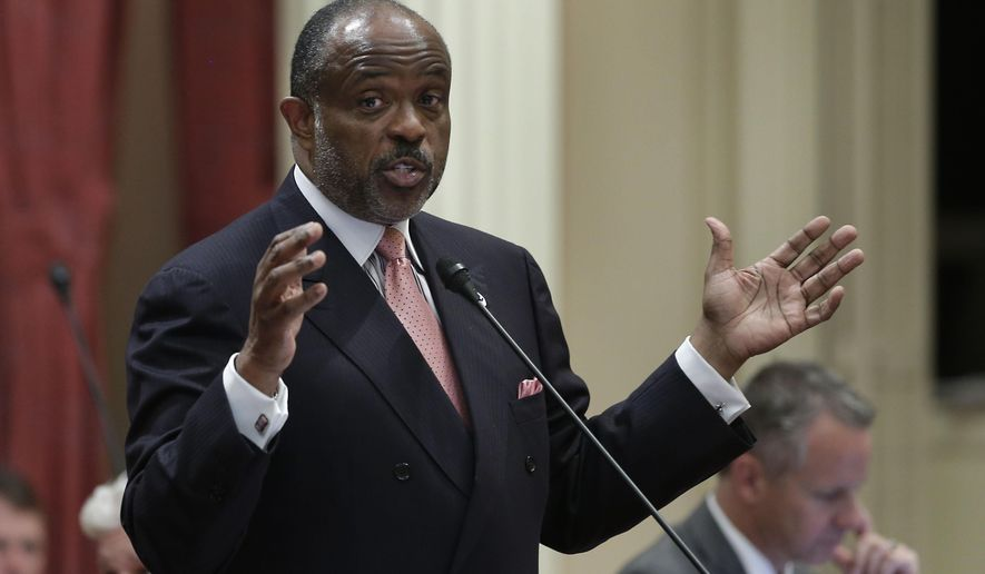 FILE -This Sept. 9, 2013 file photo shows state Sen. Rod Wright, D-Inglewood,at the Capitol in Sacramento, Calif.  Los Angeles County prosecutors will seek jail time Wednesday, Sept. 3, 2014  for  White, convicted earlier this year of lying about his legal residence, the first of three unrelated cases against elected officials that cast a shadow over the Legislature.  (AP Photo/Rich Pedroncelli, file)