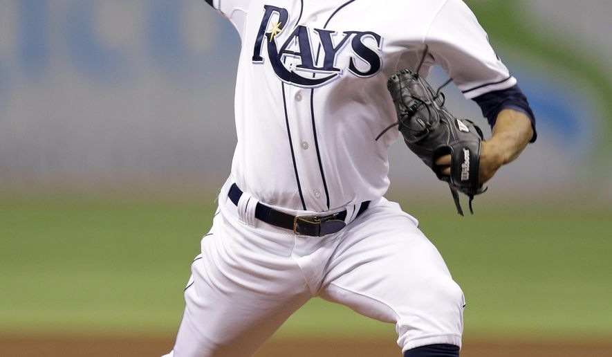 Tampa Bay Rays starting pitcher Chris Archer delivers to the Toronto Blue Jays during the first inning of a baseball game Wednesday, Sept. 3, 2014, in St. Petersburg, Fla. (AP Photo/Chris O'Meara)