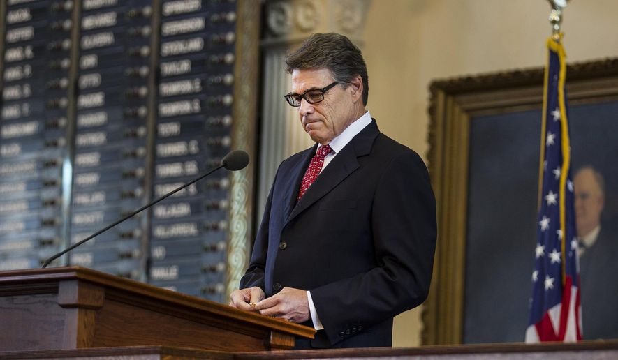 Gov. Rick Perry speaks the during the Stars of Texas awards ceremony at the State Capitol in Austin, Texas on Wednesday, Sept. 3, 2014. (AP Photo/Austin American-Statesman, Ricardo B. Brazziell)
