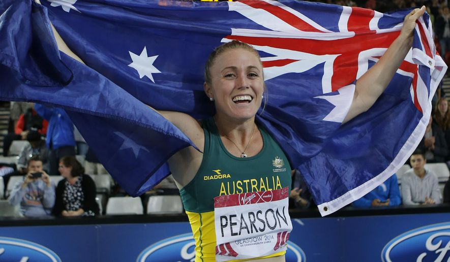 "FILE - In this Aug. 1, 2014 file photo, Sally Pearson of Australia celebrates after winning the 100-meter hurdles at Hampden Park Stadium during the 2014 Commonwealth Games in Glasgow, Scotland. The government-run Australian Sports Commission said Wednesday, Sept. 3, 2014 it will conduct an independent review of athletics to address ""systemic issues"" facing the sport in Australia. The review comes a day after Athletics Australia accepted the resignation of track and field head coach Eric Hollingsworth, who was suspended and sent home over a public falling out with Olympic champion hurdler Pearson at the Commonwealth Games. (AP Photo/Frank Augstein, File)"