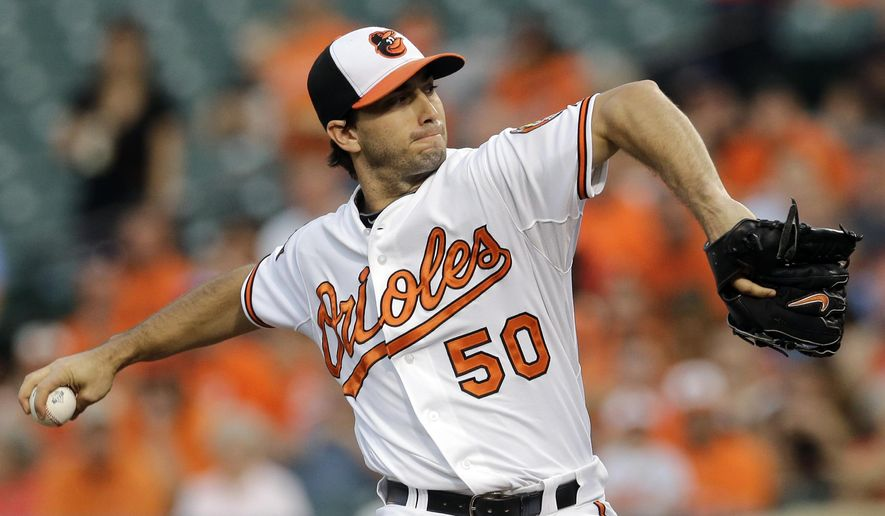 Baltimore Orioles starting pitcher Miguel Gonzalez throws to the Cincinnati Reds in the first inning of an interleague baseball game, Wednesday, Sept. 3, 2014, in Baltimore. (AP Photo/Patrick Semansky)