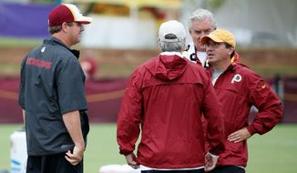 The first step in changing the structure, vibe and culture of a losing team is swapping out the leaders. Redskins owner Daniel Snyder (right) fired the stern Mike Shanahan and hired open and self-deprecating first-year head coach Jay Gruden (left) in the offseason. (Associated Press)