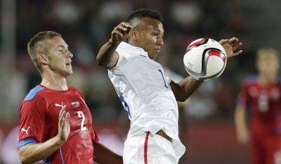 Czech Republic's Pavel Kaderabek, left, challenges Julian Green of the U.S, right, during their friendly soccer match in Prague, Czech Republic, Wednesday, Sept. 3, 2014.  (AP Photo/Petr David Josek)