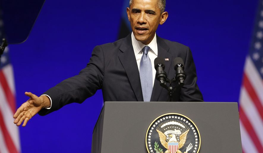 U.S. President Barack Obama gestures while speaking at Nordea Concert Hall in Tallinn, Estonia, Wednesday, Sept. 3, 2014. Obama is in Estonia for a one day visit where he will meet with Baltic State leaders before heading to the NATO Summit in Wales. (AP Photo/Mindaugas Kulbis)