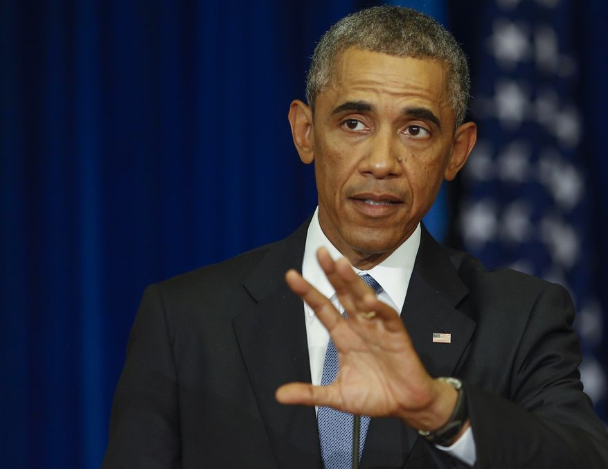 U.S. President Barack Obama gestures while speaking during his and Estonian President Toomas Hendrik Ilves news conference at the Bank of Estonia in Tallinn, Estonia, Wednesday, Sept. 3, 2014. Wednesday's statement came as U.S. President Barack Obama arrived in Estonia in a show of solidarity with NATO allies who fear they could be the next target of Russia's aggression. (AP Photo/Mindaugas Kulbis)