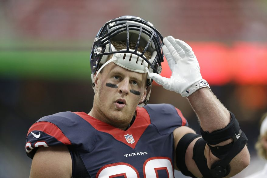 Houston Texans' J.J. Watt before an NFL preseason football game against the Atlanta Falcons,  Saturday, Aug. 16, 2014, in Houston. (AP Photo/Patric Schneider)