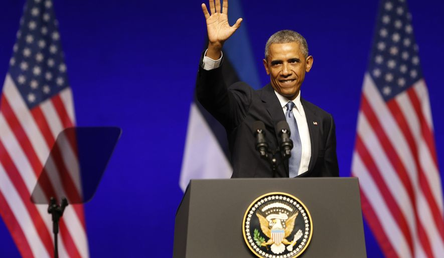 U.S. President Barack Obama waves after speaking at Nordea Concert Hall in Tallinn, Estonia, Wednesday, Sept. 3, 2014. Obama is in Estonia for a one-day visit where he will meet with Baltic State leaders before heading to the NATO Summit in Wales. (AP Photo/Mindaugas Kulbis)