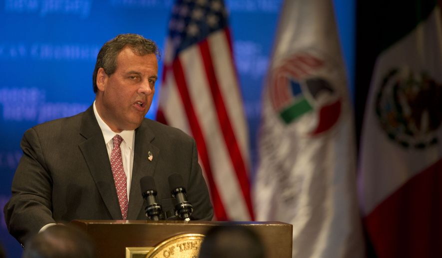 New Jersey Gov. Chris Christie addresses the American Chamber of Commerce in Mexico, in Mexico City, Wednesday, Sept. 3, 2014. Christie took a spin on the international stage Wednesday, bringing state business to Mexico City and testing his diplomatic savvy as he considers a run for U.S. president in 2016. (AP Photo/Rebecca Blackwell)