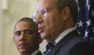 U.S. President Barack Obama and Estonian President Toomas Hendrik Ilves attend a news conference at the Bank of Estonia in Tallinn, Estonia, Wednesday, Sept. 3, 2014. Obama is in Estonia for a one day visit where he will meet with Baltic State leaders before heading to the NATO Summit in Wales. (AP Photo/Charles Dharapak)