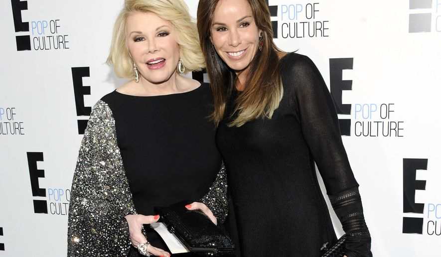 "FILE - This April 30, 2012 file photo shows comedian and TV host Joan Rivers from the show ""Fashion Police"" and her daughter Melissa Rivers at an E! Network upfront event in New York. Rivers, the raucous, acid-tongued comedian who crashed the male-dominated realm of late-night talk shows and turned Hollywood red carpets into danger zones for badly dressed celebrities,  died Thursday, Sept. 4, 2014. She was 81. Rivers was hospitalized Aug. 28, after going into cardiac arrest at a doctor's office.  (AP Photo/Evan Agostini, file)"