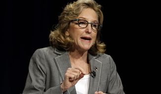 Sen. Kay Hagan, D-N.C. makes a statement during a live televised debate with Republican candidate for Senate Thom Tillis at UNC-TV studios in Research Triangle Park, N.C., Wednesday, Sept. 3, 2014. (AP Photo/Gerry Broome, Pool)
