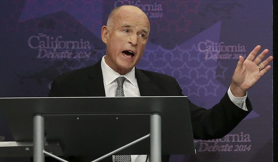 Gov. JerryBrown speaks during a gubernatorial debate with Republican challenger Neel Kashkari in Sacramento, Calif., Thursday, Sept. 4, 2014. Thursday's debate is likely to be the only one of the general election. (AP Photo/Rich Pedroncelli, Pool)