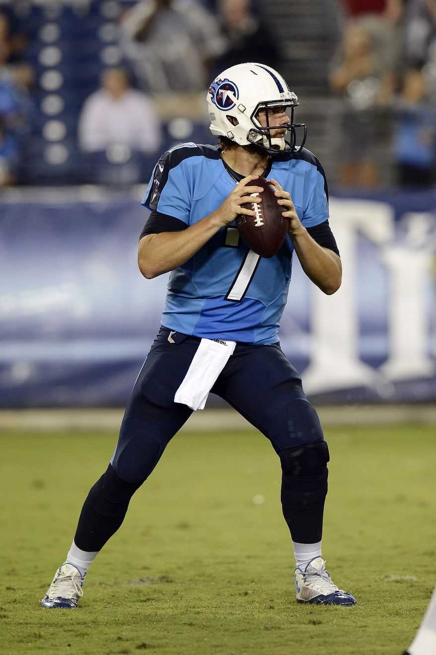 6. TENNESSEE TITANS -Tennessee Titans quarterback Zach Mettenberger passes against the Minnesota Vikings in the second quarter of a preseason NFL football game Thursday, Aug. 28, 2014, in Nashville, Tenn. (AP Photo/Mark Zaleski)