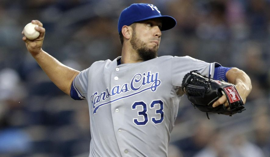 Kansas City Royals starting pitcher James Shields throws to the New York Yankees during the first inning of a baseball game, Friday, Sept. 5, 2014, in New York. (AP Photo/Julio Cortez)