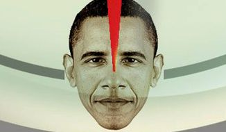 "Illustration on Obama's ""anti-Bushism"" by Alexander Hunter/The Washington Times"