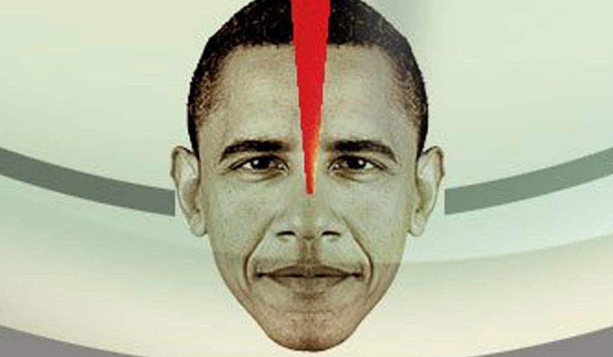 "Illustration on Obama's ""anti-Bushism"" by Alexander Hunter/The Washington Times"