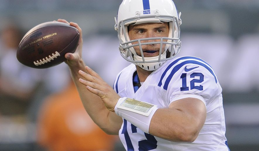 FILE - In this Aug. 7, 2014, file photo, Indianapolis Colts quarterback Andrew Luck throws a pass against the New York Jets during the first quarter of an NFL football game in East Rutherford, N.J. (AP Photo/Bill Kostroun, File)