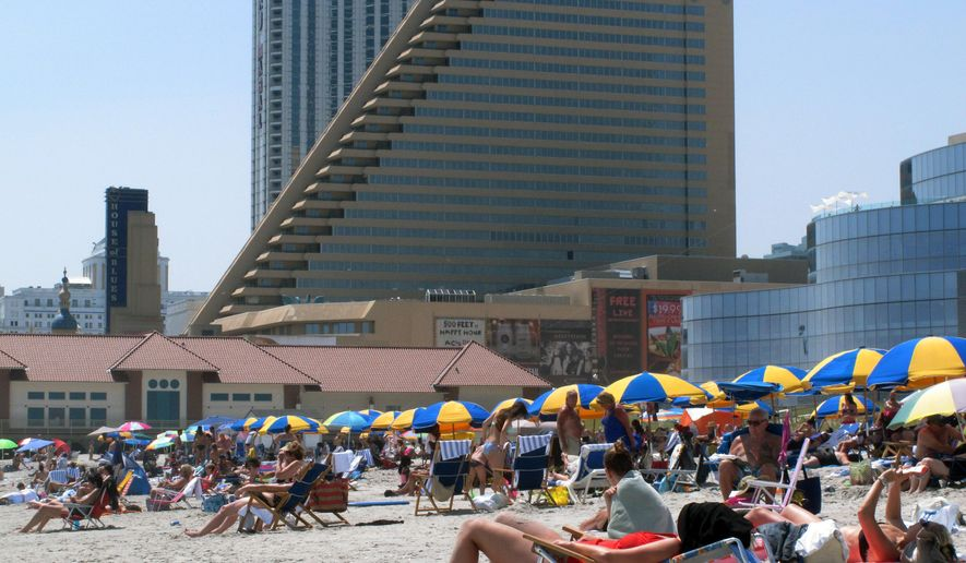 This July 23, 2014 photo shows the former Showboat Casino Hotel in Atlantic City, N.J. The casino, which closed on Aug. 31, 2014, is one of three potential locations in Atlantic City that a Florida company, Latitude 360, is considering for a $20 million non-gambling development. (AP Photo/Wayne Parry)