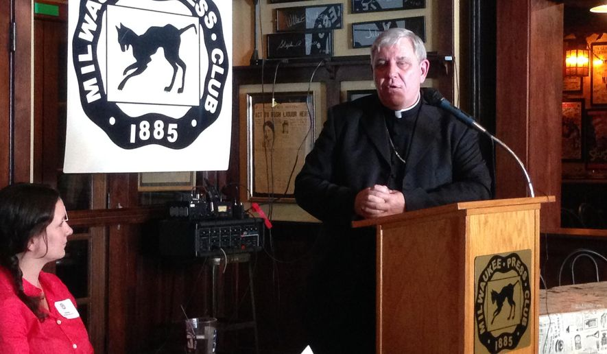 In this Wednesday, Sept. 3, 2014 photo, Milwaukee Archbishop Jerome Listecki speaks to members of the Milwaukee Press Club, in Milwaukee. The archdiocese enters mediation with sexual abuse victims Monday to try to resolve its bankruptcy lawsuit. (AP Photo/M.L. Johnson)
