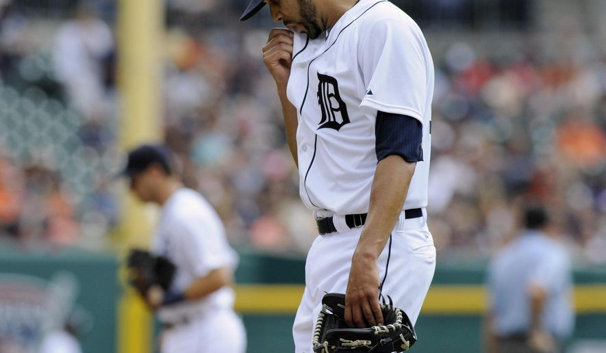 Detroit Tigers pitcher David Price heads to the dugout after giving up four runs to the San Francisco Giants in the first inning of a baseball game Saturday, Sept. 6, 2014, in Detroit, Mich.  AP Photo/Jose Juarez)