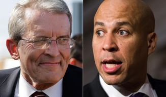 This combo made from file photos shows New Jersey candidates for U.S. Senate, Republican Jeff Bell, left, and incumbent Democratic Sen. Cory Booker. New Jersey has not elected a Republican to the U.S. Senate since 1972, but conservatives think they have a chance with Bell, a little-known candidate taking on the well-funded Booker. (AP Photo/Mel Evans, J. Scott Applewhite)