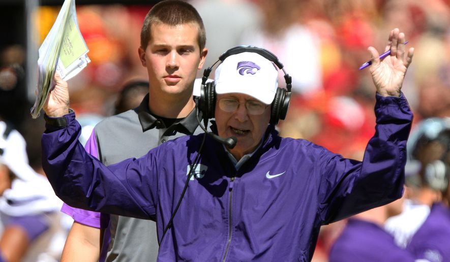 Kansas State head coach Bill Snyder reacts to a play during the first half of an NCAA college football game against Iowa State, Saturday, Sept. 6, 2014, in Ames, Iowa. (AP Photo/Justin Hayworth)
