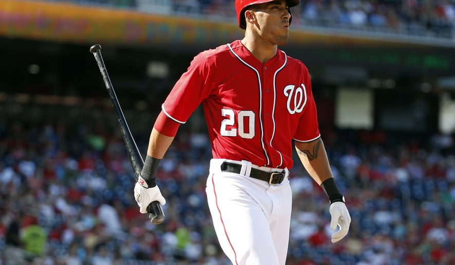 Washington Nationals' Ian Desmond walks away after striking out during the first inning of a baseball game against the Philadelphia Phillies at Nationals Park, Saturday, Sept. 6, 2014, in Washington. (AP Photo/Alex Brandon)
