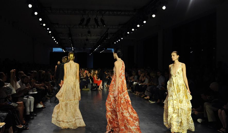 The Altuzarra Spring 2015 collection is modeled during New York Fashion Week, Saturday, Sept. 6, 2014.  (AP Photo/Diane Bondareff)