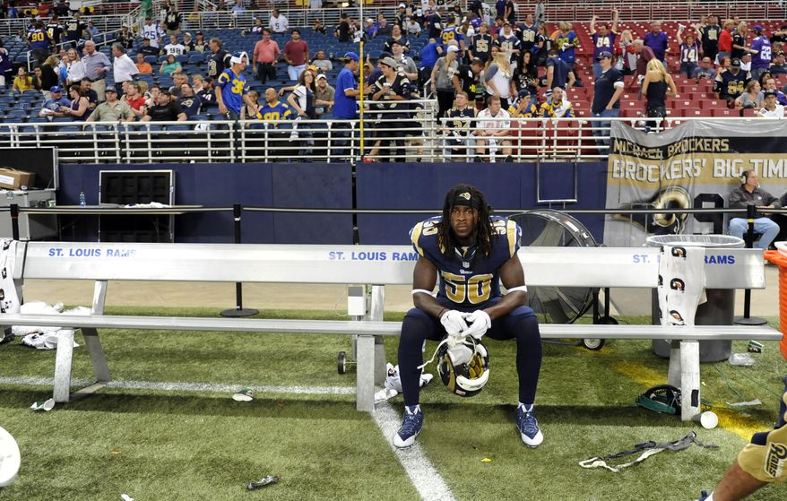 St. Louis Rams linebacker Ray-Ray Armstrong sits on the bench following a 34-6 loss to the Minnesota Vikings in an NFL football game Sunday, Sept. 7, 2014, in St. Louis. (AP Photo/L.G. Patterson)