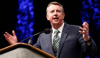 Despite GOP gains in several other races, Republican Ed Gillespie trails incumbent Democratic Sen. Mark R. Warner by a double-digit margin in Virginia. (associated press)