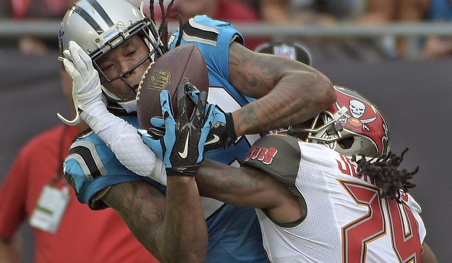 Carolina Panthers wide receiver Kelvin Benjamin, left, pulls in a 26-yard touchdown reception as he is covered by Tampa Bay Buccaneers cornerback Mike Jenkins (24) during the fourth quarter of an NFL football game Sunday, Sept. 7, 2014, in Tampa, Fla. (AP Photo/Phelan M. Ebenhack)