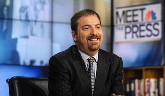 "NBC political director Chuck Todd sits in the studio of ""Meet the Press"" in Washington on Sept. 1, 2013. (Associated Press/NBC) ** FILE **"