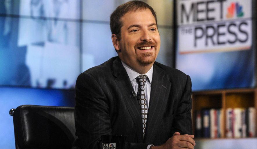 "NBC political director Chuck Todd sits in the studio of ""Meet the Press"" in Washington on Sept. 1, 2013. (Associated Press/NBC) **FILE**"