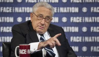 "In this Sunday, Sept. 3, 2014, photo provided by CBS News, former U.S. Secretary of State Henry Kissinger talks about his views and his new book ""World Order"" in a pretaped interview for CBS's ""Faith but Nation"" which aired Sunday, Sept. 7, 2014. (AP Photo/CBS News, Chris Usher)"