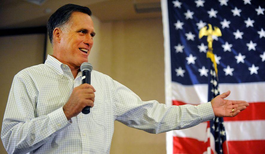 Former Massachusetts Gov. Mitt Romney speaks at Tamarack during the Working for Jobs Rally in Beckley, W.Va., on Aug. 19, 2014. (AP Photo/Chris Tilley, File)