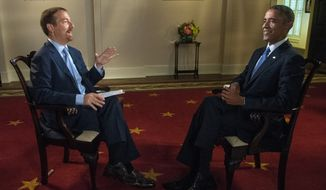 "In this Sept. 6, 2014 image released by NBC, Chuck Todd, left, speaks with President Barack Obama prior to an interview for ""Meet the Press"" at the White House in Washington. Todd debuted as moderator of NBC's ""Meet the Press,"" Sunday, Sept. 7, bringing a low-key style and surrounding himself with fellow pundits as NBC turns to him to erase a slide that has taken the long-running Sunday morning political affairs program from first to third in the ratings. (AP Photo/NBC, William B. Plowman)"