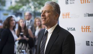 """Filmmaker Jon Stewart seen at the """"Rosewater"""" premiere at the Princess of Wales Theatre during the 2014 Toronto International Film Festival on Monday, Sept. 8, 2014, in Toronto, Ontario. (Photo by Arthur Mola/Invision/AP)"""