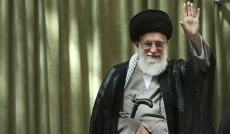 """Ali Khamenei, the mullah who is the supreme leader of Iran, tells his Twitter followers that """"This barbaric, wolflike & infanticidal regime of #Israel which spares no crime has no cure but to be annihilated."""" (AP Photo/Office of the Iranian Supreme Leader, File)"""